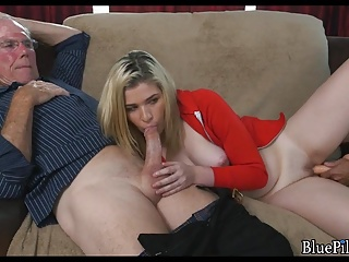 Blonde Teen pleases older guys