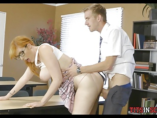 Redhead with Big Tits gets it in Class