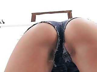 Hottest Blonde Babe Working Out With Pussy Lips Out!